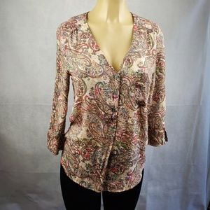 Fred David Brown Green Floral Blouse Size S